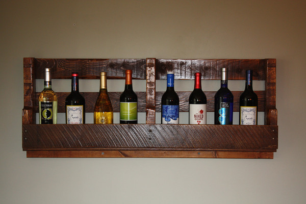 My husband ROCKS!  He made me a wine rack out of an old pallet for our 5-year we