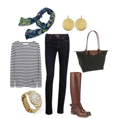 an outfit for italy in the fall: hammered gold earrings, floral scarf, nautical