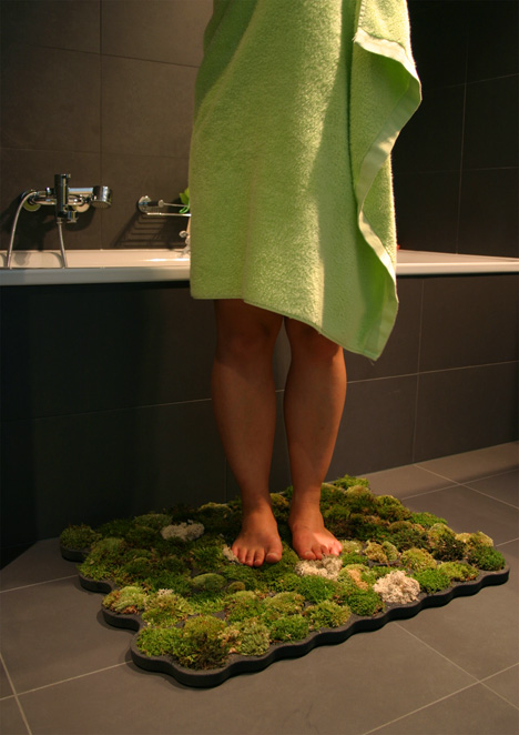 Natural Moss Bath Mat–you water it by using it. lol we could be a green house ;