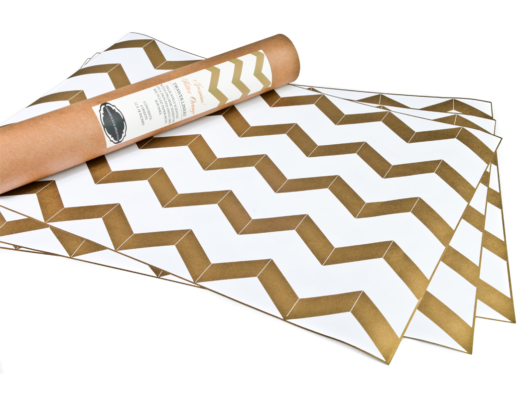 Chevron Gold Metallic Drawer Liners from Emily Henderson #chevron #style #decor