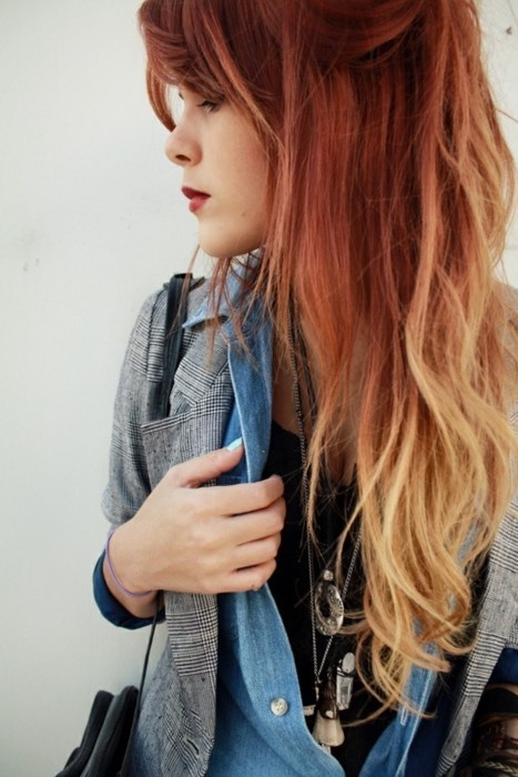 Gorgeous ombre hair with red and blonde