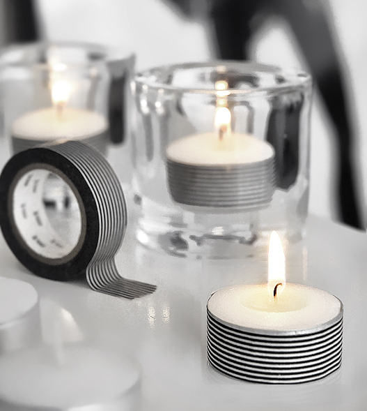 Add decorative tape to tea lights
