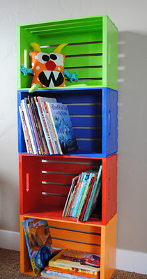 DIY Bookshelf made from crates you can get at Joann's. Paint it any color yo