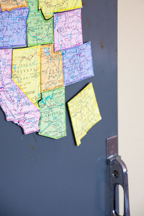 Turn an old map into magnets … what a neat way to learn states and their locat