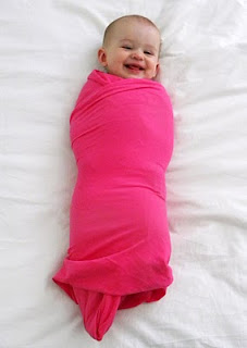 Easiest no sew swaddle blankets ever! Buy one yard of stretchy jersey knit fabri