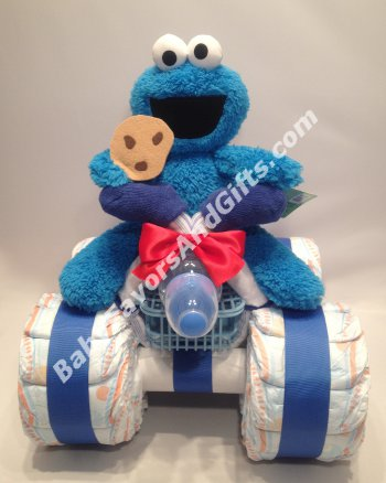 Cookie Monster 4-Wheeler Diaper Cake – 9990335 – Baby Boy – Diaper Cakes – by