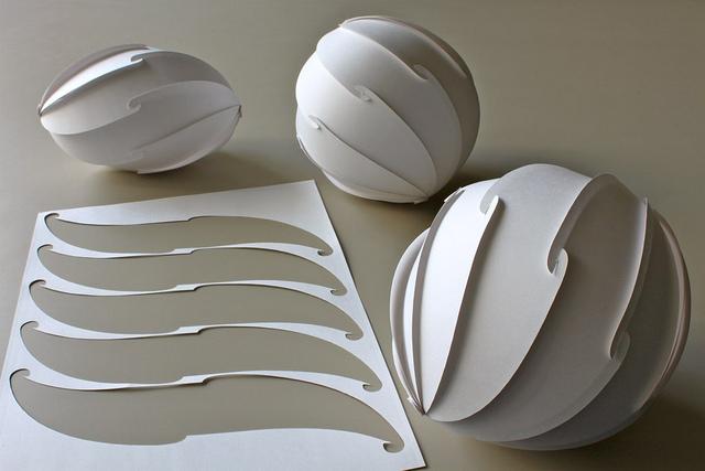 Spherical Spiral, cut pattern in A4 sheet . Yoshinobu Miyamoto