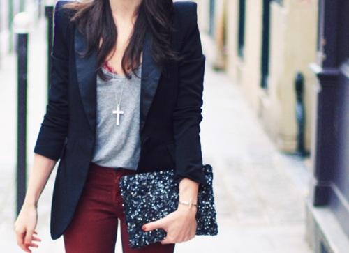 Blazer, burgundy pants