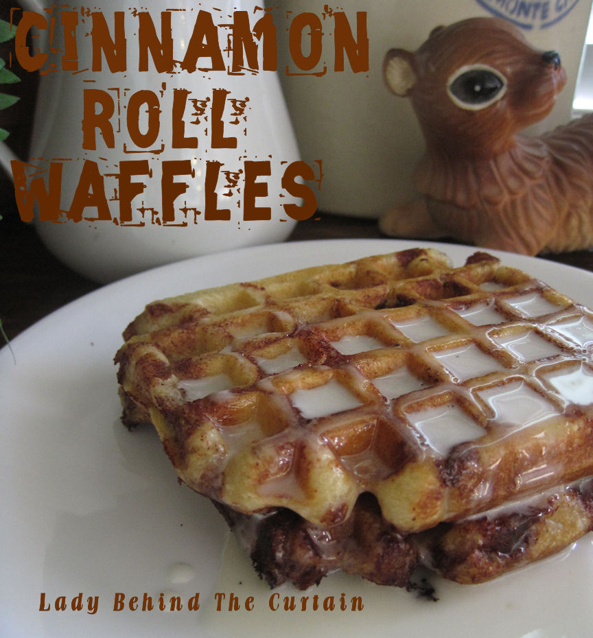 Cinnamon Roll Waffles with Cream Cheese Syrup (just put refrigerated cinnamon ro