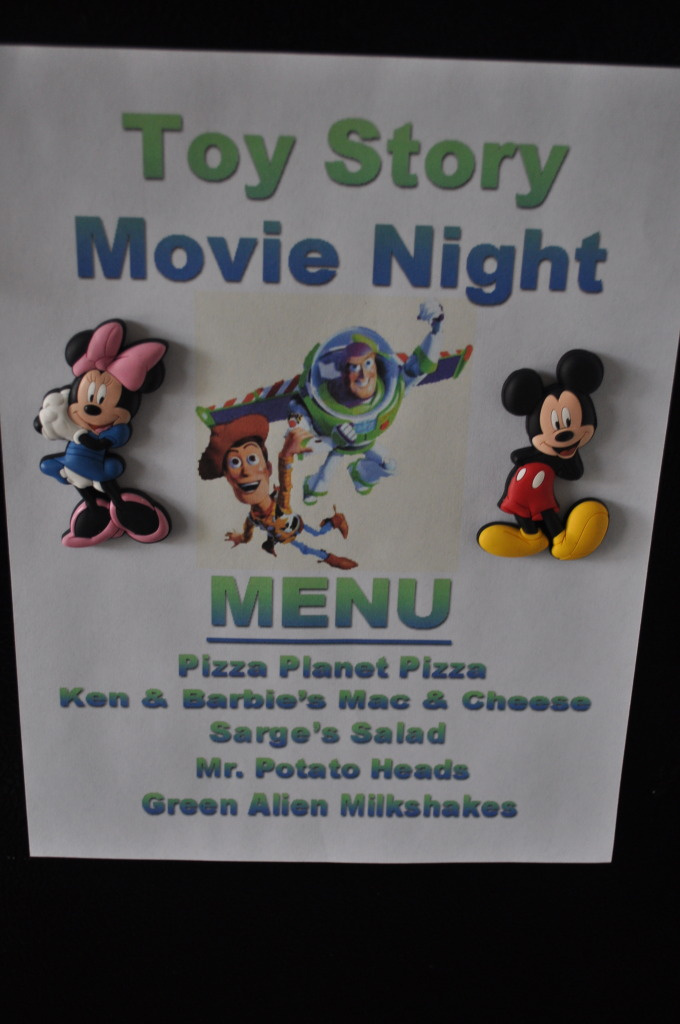 Disney Movie Night with coordinating dinner.