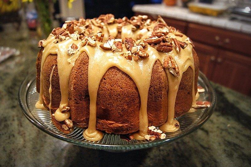 Apple Cream Cheese Caramel Bundt Cake