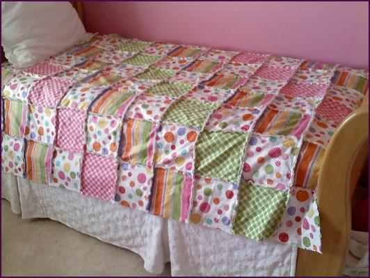 rag quilt measurements/fabrics