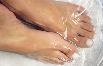 Soaking feet in vinegar (apple cider being best) is a great remedy for many prob
