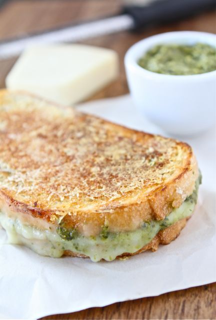 parmesan crusted pesto grilled cheese! I love cheese!