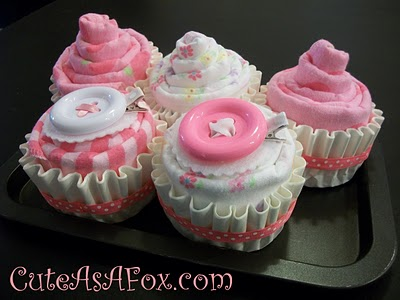 burp clothe and baby sock cupcakes