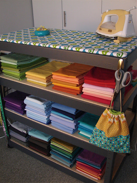 Ironing board on top of shelves in a craft room! Genuis!