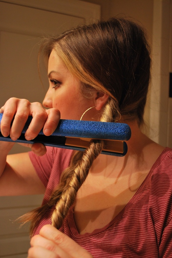 Totally trying this! Split and braid your hair into two sections and tie with a