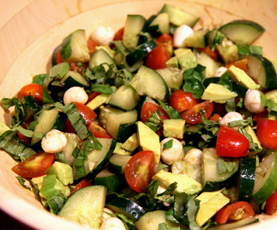 I could eat this every day. Cucumber Salad – cucumber, tomatoes, fresh basil, mo