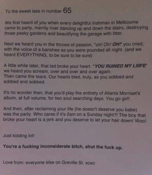 Awesome neighbor notes.