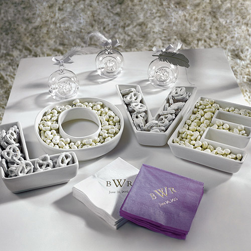 """LOVE"" Plates Set  -I love this for the bridal shower ..really cute"