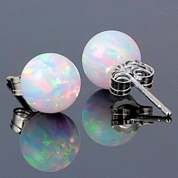 Australian Fiery White Opal Earrings