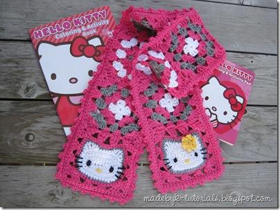 Hello Kitty Granny Square Scarf Adorable