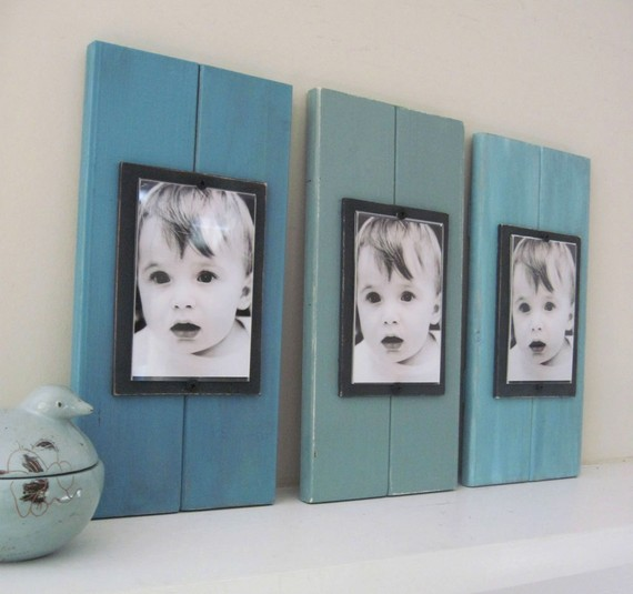 painted wood scraps, and $5 cheap frames from walmart