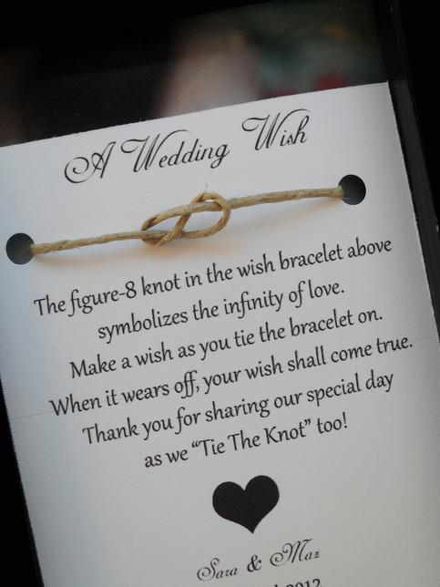 A Wedding Wish bracelet. Such a cute favor..