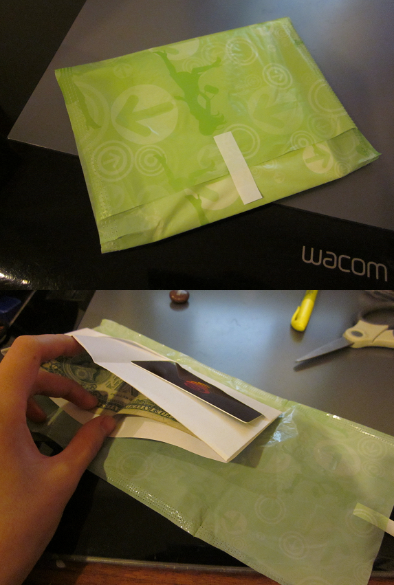 LOL foolproof anti-theft device = maxi pad wrapper! Ladies: a wallet that will n