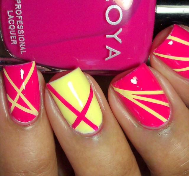 lined pink and yellow nails
