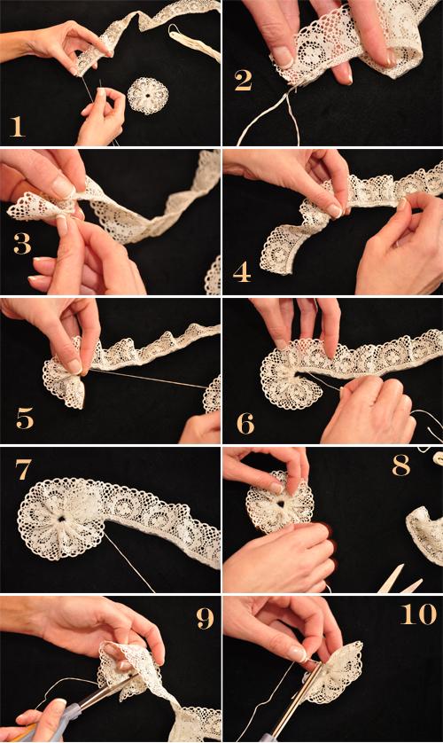 DIY lace rosettes