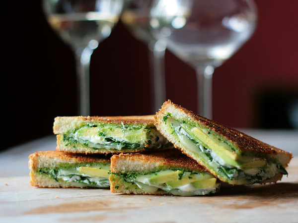green goddess grilled cheese: pesto, spinach, avocado & goat cheese