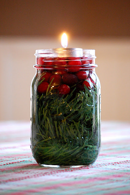 Simple and Pretty   ~mason jar, greenery, cranberries, water, tea light~    simp