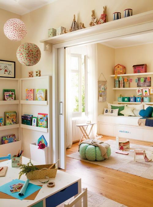 playroom + book shelves