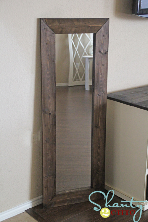 Cheap Wal-mart mirror with added wood frame.