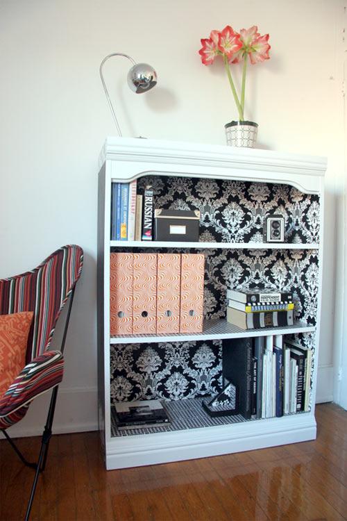 bookcase + wallpaper