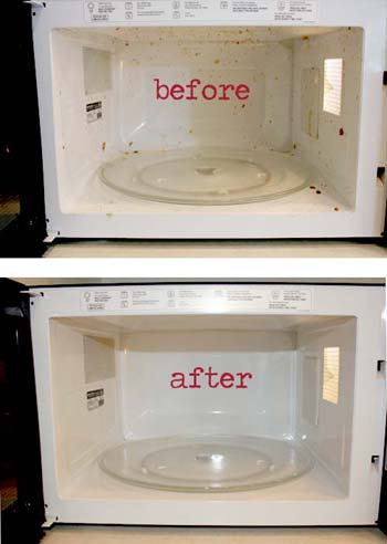 1 c vinegar + 1 c hot water + 10 min microwave = steam clean! Totally works. No