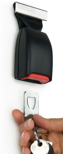 Key chain/holder from old seatbelt buckles…LOVE! HOW COOL!