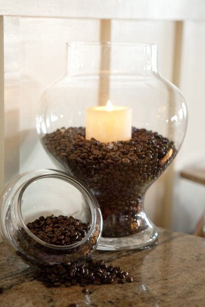 Coffee beans and vanilla candles…instant heavenly aroma!