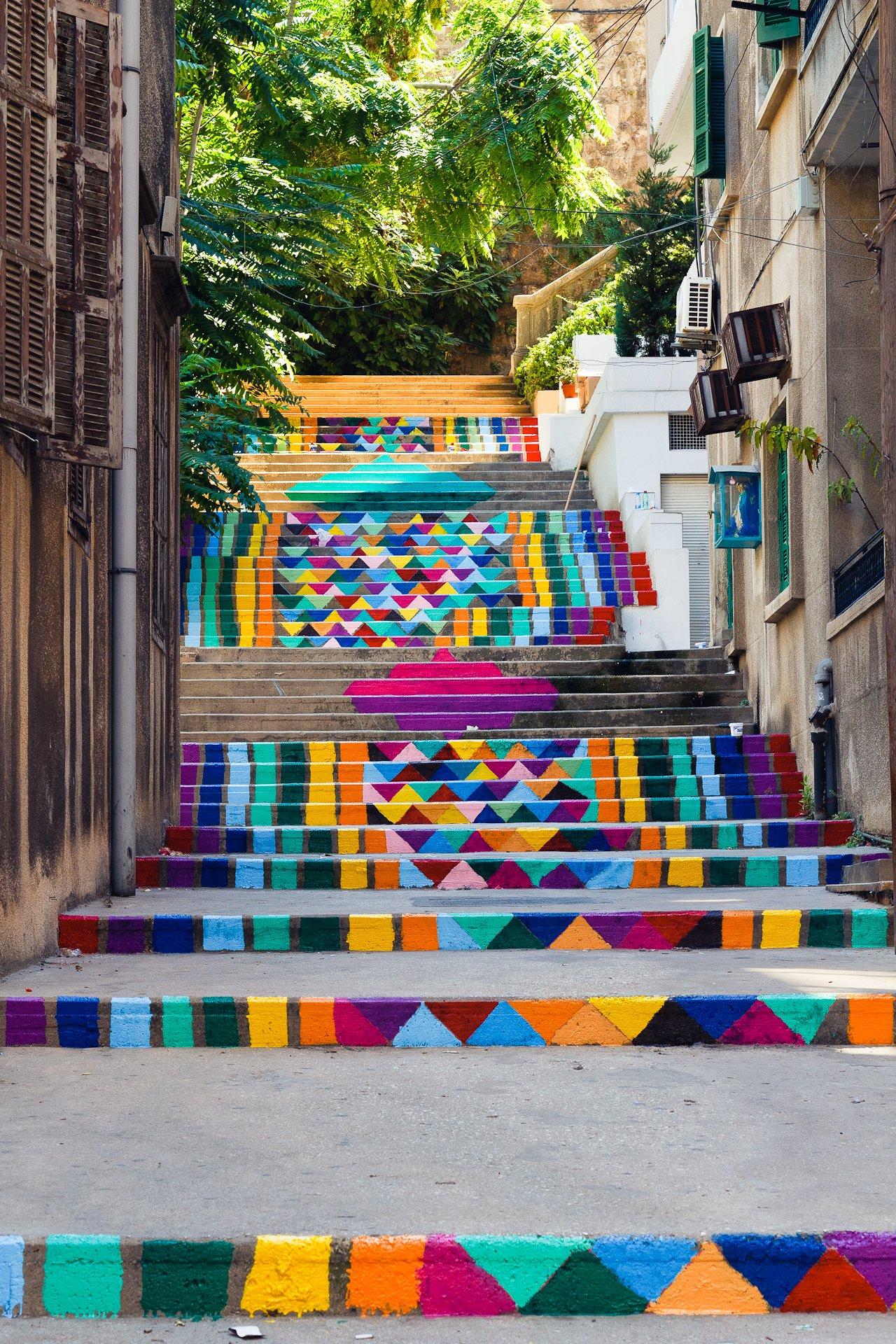 Rainbow street art steps in Beirut, Lebanon.