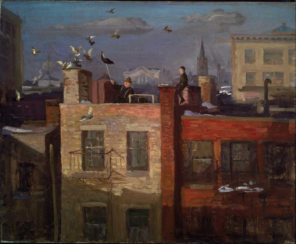 John Sloan, Pigeons, 1910    From the Museum of Fine Arts, Boston