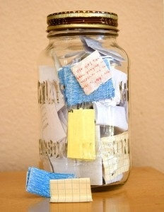 I like this idea. Start the year with an empty jar and fill it with notes about