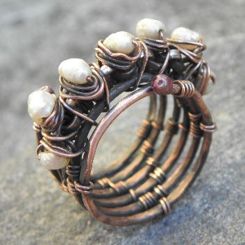 Crown of Pearls, Antiqued woven Copper and Pearl ring,ThePurpleLilyDesigns. $45.