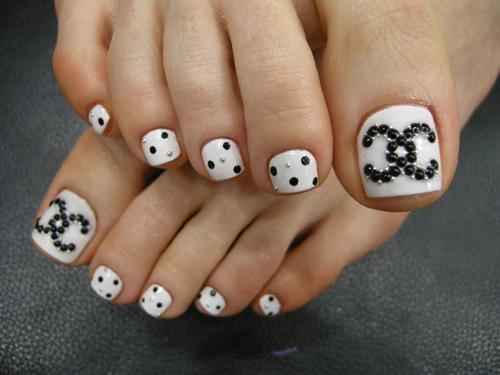 Chanel toenail art designs