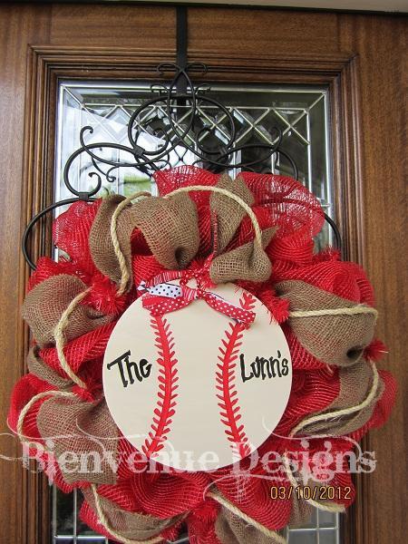 Baseball Mesh Wreath