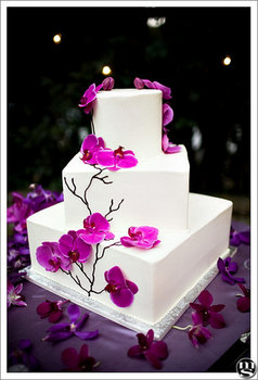 Wedding, Cake, White, Purple, Orchids