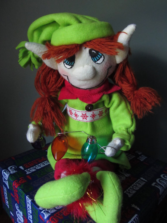Bright Green and Red Girl Elf by javiegurl03 on Etsy, $23.00