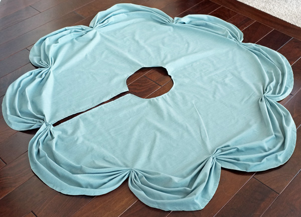 """Tree skirt out of 70"""" round tablecloth! !"""