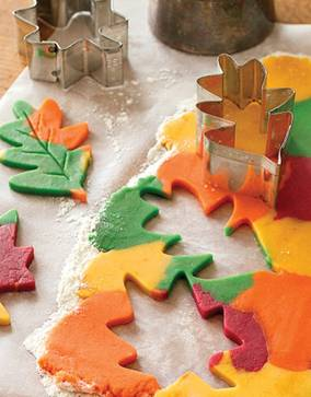 Thanksgiving – make a sugar cookie recipe, divide dough and add food coloring, r
