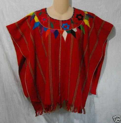 Vintage PONCHO Mexican Hand Embroidered Red Square Fringed Cape Top Hippy Boho  